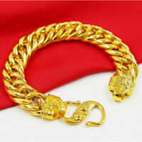 "24k Yellow Gold Mens Dragon 12mm Wide Link Chain 8"" Bracelet w Gift Pg D9799"