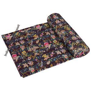 Indian Handmade Baby Quilt Throw Reversible Blanket Bedspread Cotton Fabric