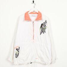 Vintage Femmes 80s adidas Abstrait Veste Blanc Taille M