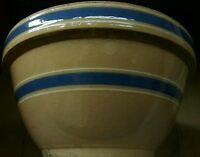 """Vintage Large 2 Blue Bands Bowl Stoneware Pottery Country Display Only 11""""&1/2"""