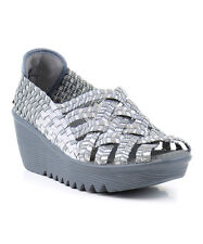 Bernie Mev Silver & Gray Hope Wedge Sandals SZ 40 US 9.5 - 10