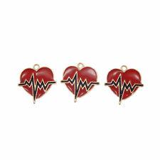 10 pcs Jewelry Making Enamel Metal Red Heart Shaped Pendants Charms 21x20mm