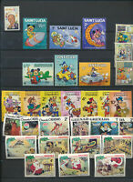 DISNEY Mint NH Mini Stamp Collection 30 Different Mickey, Goofy, Pluto, Walt