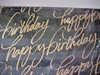 Happy Birthday Gift Wrap Wrapping Paper Black Gold Wording 4 Sheets New Hallmark