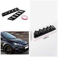 2pcs 16.7X4.5'' Hood Vents Louver Panel Trim Matte Black ABS Car Body Kit Decor