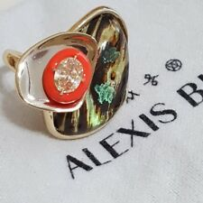 New Alexis Bittrar Wood Grain Hand Painted Iridescent Ring Size 7