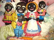 VTG LOT AUNT JEMIMA OIL CLOTH FAMILY UNCLE MOSES DIANA WADE DOLL ADVERTISING SET