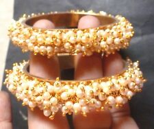 Indian Weeding Gold Plated Full Faux Pearl Set Bridal 1 Pair Bangles Churi 2.8''