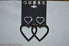 Guess Brand Hematite-Tone Double Heart Drop Earrings XMAS Valentine Gift Idea :)