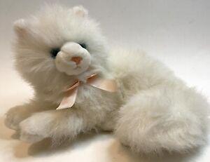 "Russ Berrie Nikki Kitty White Blue Eyes Persian Cat Plush 12"" Laying Soft Bow"