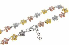 """STERLING SILVER 925 TRICOLOR 6MM HAWAIIAN PLUMERIA FLOWER ANKLET 9 1/2"""""""