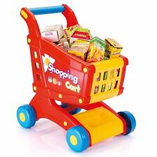 Kids Shopping Trolley Cart Basket Role Play Toy Set Plastic Fruit Food Xmas Gift