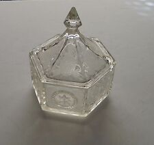 Tiara Colonial Clear Crystal Candy Dish Candy Box with Eagle & Star Pattern