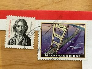 #4438, Mackinac Bridge $4.90 - Harriet Beecher Stowe 75c stamps on paper 2010