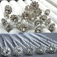 10 Diamante Rhinestones Bridal Wedding Prom Women Hair Pins Clips Fashion KI