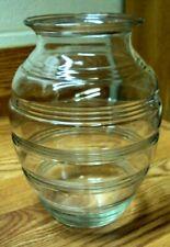 """Vtg Estate Find ~ BEEHIVE RING Clear Glass VASE ~ 8"""" H"""