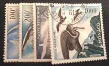 PA monaco , n°55/58, Obl, TBC, cote 354e  Tb série des oiseaux bien oblitere