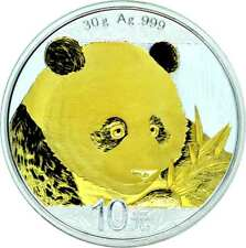 10 YUAN ARGENT CHINE PANDA 2018 avec application d'OR GILDED EN STOCK
