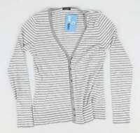 Planet Grey Striped Womens Cardigan Size XS (Regular)
