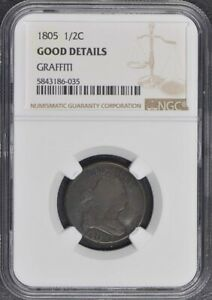 1805 Draped Bust Half Cent 1/2C NGC G Details Small 5 Stems
