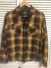 Prana Thermal Lined Shadow Plaid Flannel Shirt Men's Small NICE!