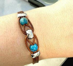 Handmade Unisex Leather Band Bracelet with 8mm Blue Crazy Lace Agate Gemstones