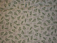 New listing Vintage Cream w/ Green Leaves and Brown Swirls Oakhurst 72 X 42 ~2 Yds
