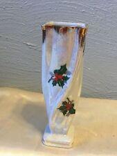 "Vintage White Pearlized Glaze Ceramic Flower/Bud Vase 7.75"" Tall--VGC"