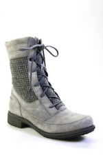 The North Face Womens Suede Tie Front Mid Calf Heel Boots Gray Size 8.5