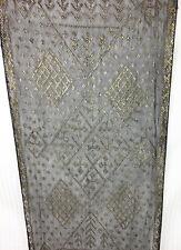 Antique Tel Kirma or Assuit Shawl Scarf Silver Thread Black Egypt