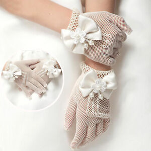 4-15 Years Girls White Lace Gloves Faux Pearl Fishnet Wedding Flower Girl Gloves