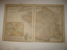 LARGE FINE ANTIQUE 1880 FRANCE PARIS 2 SHEET MAP RAILROAD WINE AREAS INTEREST NR