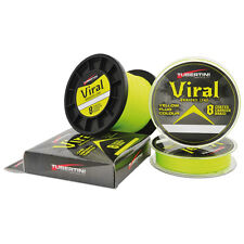 TRECCIATO VIRAL BRAIDED LINE 21 LB TUBERTINI 0,12 MM 8 CAPI YELLO FLUO 300 MT