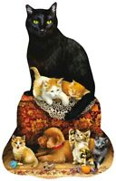 Sunsout - FAMILY OTTOMAN - 1000 piece Shaped Puzzle / Cats, Dogs, Kittens, Pups