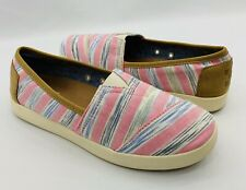 Toms Pink Blue Stripe Canvas Womens Slip on Shoes Size 6 Women Classic Flats