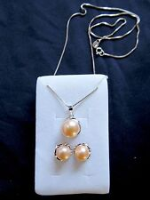 Pink Pearl Necklace and Earrings Set in 925 Sterling Silver ~UK Seller~