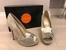 Karen Millen Silver Diamante High Heel Peep Tie Shoes Size 3 Wedding