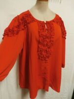 Denim 24/7 New Plus Size 22W Red Button Front Ruffle Trimmed Blouse