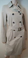 BURBERRY WOMEN'S beige doppio petto con colletto Trench Pioggia MAC UK10; US8