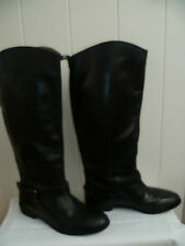 ZARA SIZE 38 UK5 LADIES BLACK LEATHER KNEE HIGH BOOTS LEATHER LINED GOOD CON