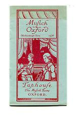 Vintage Event Program MUSIC IN OXFORD England Michaelmas Term 1936 oct-dec