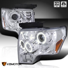 2009-2014 Ford F150 Halo+LED Crystal Projector Headlights Left+Right 09-14
