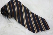 Ermenegildo Zegna Mens Blue Gold Stripe Neck Tie Necktie Made in Italy