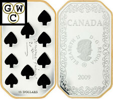 2009 Ten of Spades -Playing Card Colorized Proof $15 Sterling Silver Coin(12465)