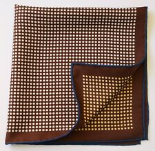 Brown & white spotted Silk pocket square handkerchief 42cm Hand rolled