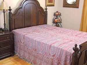 Shabnam Coral Paisley Kani Wool Bedspread Reversible Huge Throw Blanket Queen