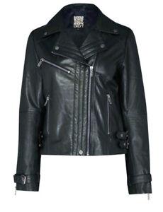 Biba Ladies Size 12 Forest Leather Biker Jacket