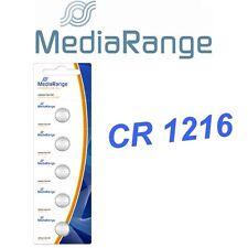 Lot de 5 piles boutons CR1216 MEDIARANGE Lithium 3 Volts  neuves -PILES FRAICHES