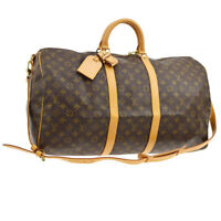 AUTH LOUIS VUITTON KEEPALL 55 BANDOULIERE TRAVEL HAND BAG PURSE MONOGRAM M13760i