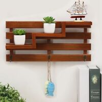 Solid Wood Wooden Wall Mounted Vintage Retro Rack 3 Hanger Hooks Floating S Q4A5
